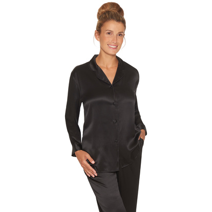 Lady Avenue Pure Silk Pyjamas Black