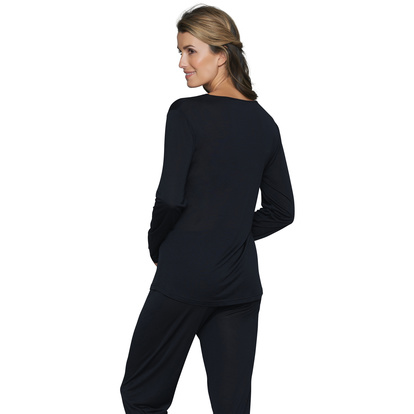 Lady Avenue Silk Jersey Pyjamas Lång Ärm Black