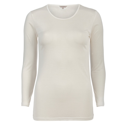 Lady Avenue T-shirt Långärmad Silk jersey Off-white