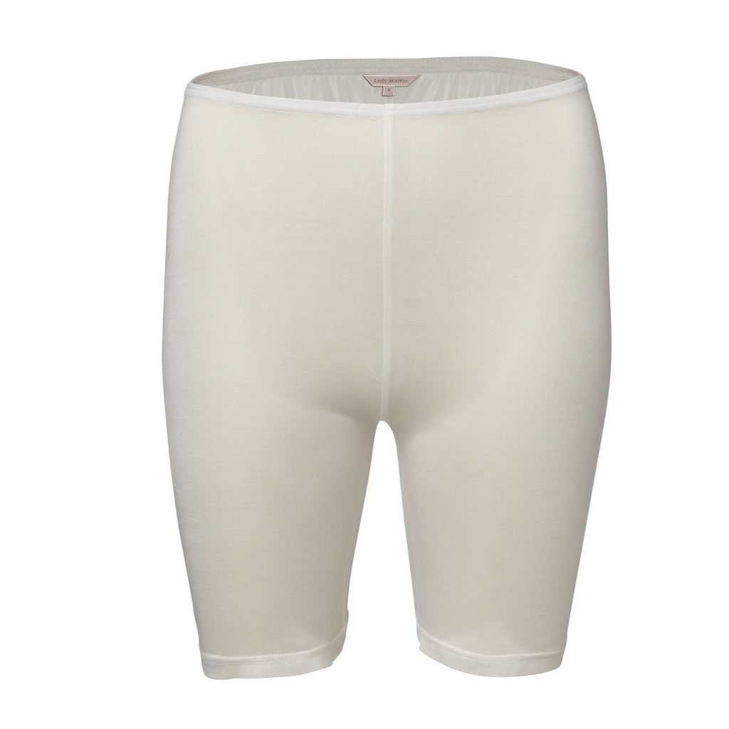 Lady Avenue Shortstrosor Långa ben Silk Jersey Off-white