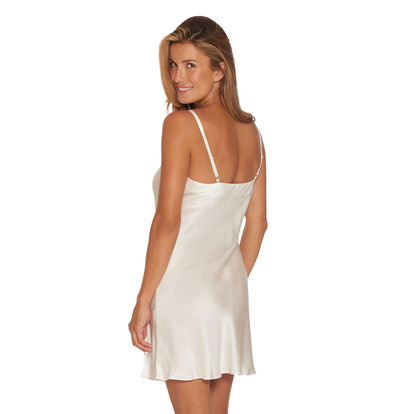 Lady Avenue Pure Silk Slip Lace Off-white