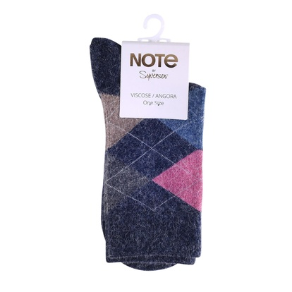 Note Strumpor Argyle Viscose Angora Dark Blue 36-41