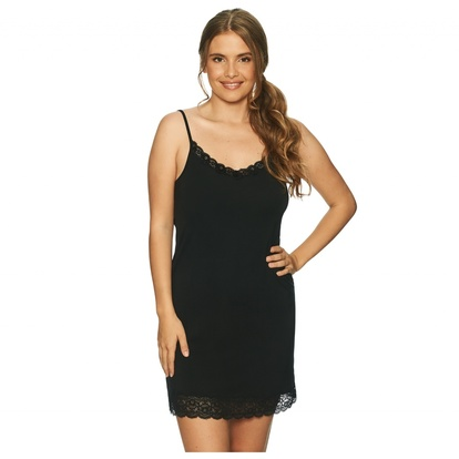 Lady Avenue Bamboo Slip Dress Lace Black