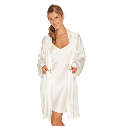 Lady Avenue Kimonon Pure Silk Off-white