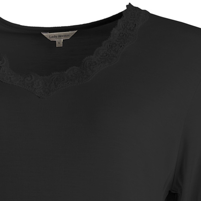 Lady Avenue Nattlinne Lång Ärm Silk Jersey Black