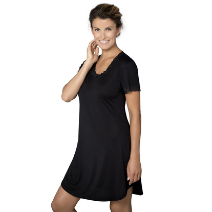 Lady Avenue Nattlinne Kort Ärm Silk Jersey Black